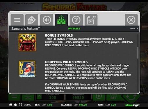 Bonus и Wild в игре Samurai's Fortune