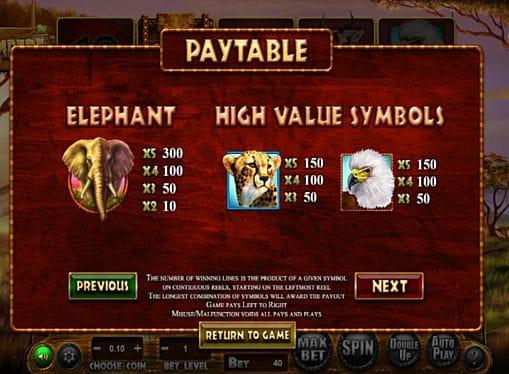 Выплаты за символы в игре Stampede