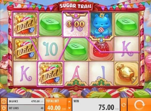 Комбинация символов на линии в игре Sugar Trail