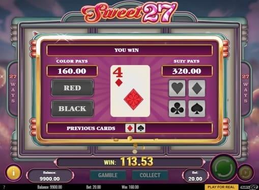 Удвоение выигрыша в игре Sweet 27