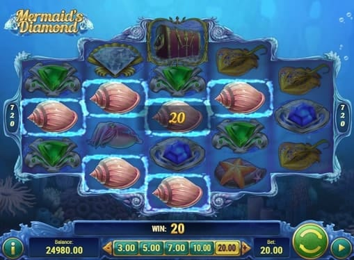 Выигрышная комбинация на линии в Mermaids Diamond