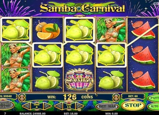Выигрышная комбинация символов в Samba Carnival