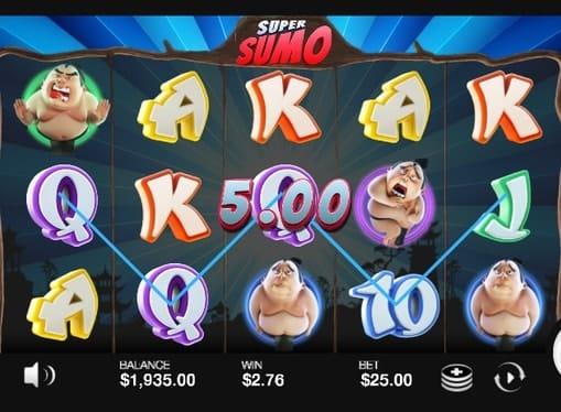 Выигрышная комбинация симвлов в Super Sumo
